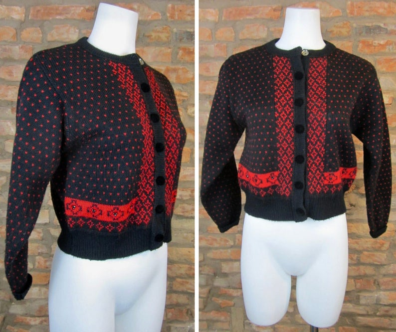 72b4d67a16f9ac Vintage Cardigan Women Small Crop Sweater Red Black Birdseye