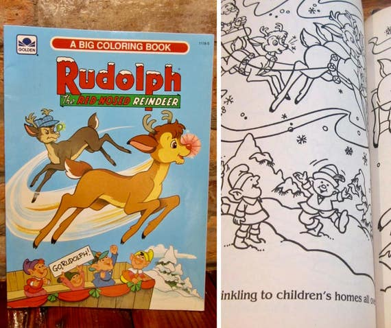 Vintage Coloring Book For Kids Rudolph The Red Nosed Reindeer Etsy