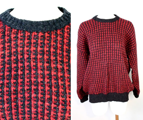 Vintage 80s Sweater Shetland Wool Sweater Black Red Birds Eye Etsy