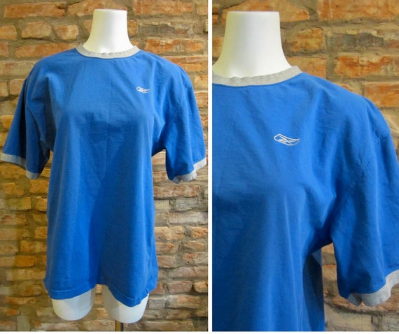 Vintage Reebok Shirt 90s Athletic Wear Grey Blue Ringer Tee Large 1990s Hip Hop Sportswear Embroidered Logo Gym Shirts Retro Style