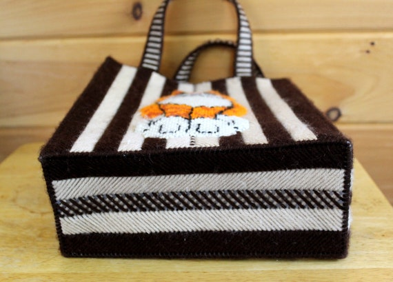 Vintage Cat Bag 1970s Cross Stitch Top Handle Box… - image 7