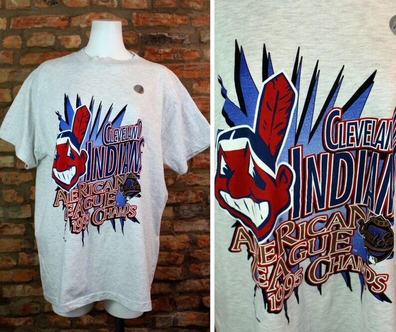 Cleveland Indians Shirt Retro MLB Jersey XL 1994 World Series American  League Champions Vintage Baseball Tee 90s Clothing Ohio Sports Fan