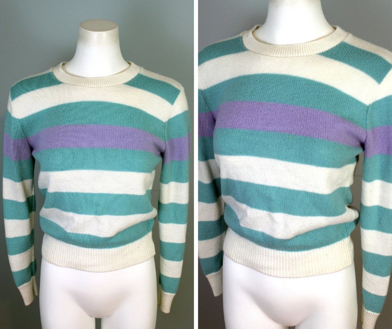 80s Striped Sweater Pastel Purple Teal Thick Stripes Pattern Vintage Crew Sweater Fitted Top Thin Knit Jumper Minimal Light Sweater Medium