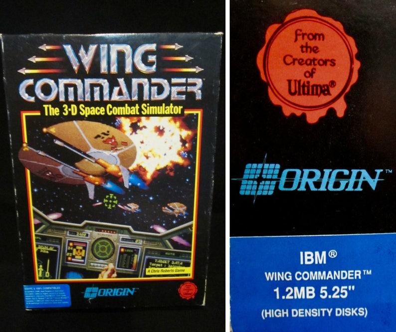 Vintage Computer Game 1990 Wing Commander PC Game Big Box IBM/PC  Compatibles 5 25