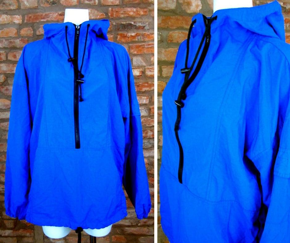 333768d94a8 Vintage Windbreaker 90s Hoodie Mens XL Blue Pullover Jacket