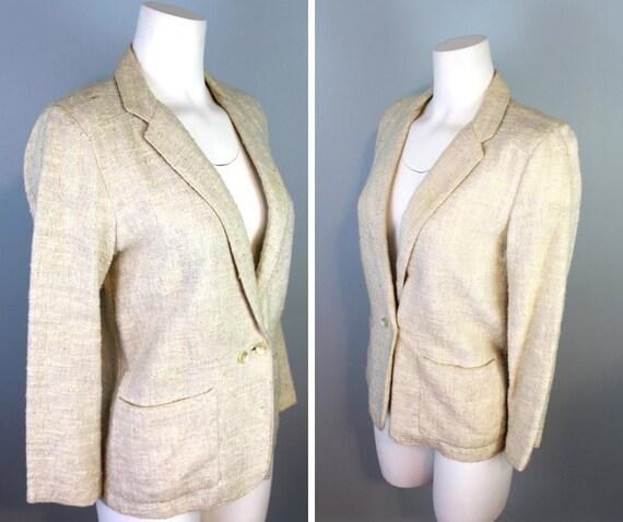 Vintage Linen Blazer Women's 7/8 Beige Oatmeal Coa