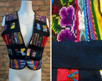 Tapestry Vest Womens Medium Guatemalan Textile Mercerized Top Colorful Sleeveless Shirt Multicolor Patchwork Vests Hippie Clothing Vintage