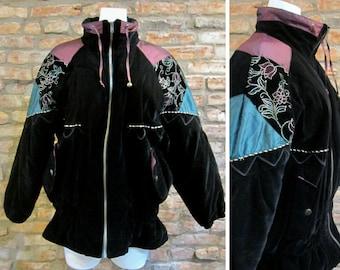 Vintage Ski Jacket 80s Puffer Jacket Women Large Puffer Coat 80s Ski Jacket Black Velvet Color Block Jacket Skirt Waist Southwestern Jacket