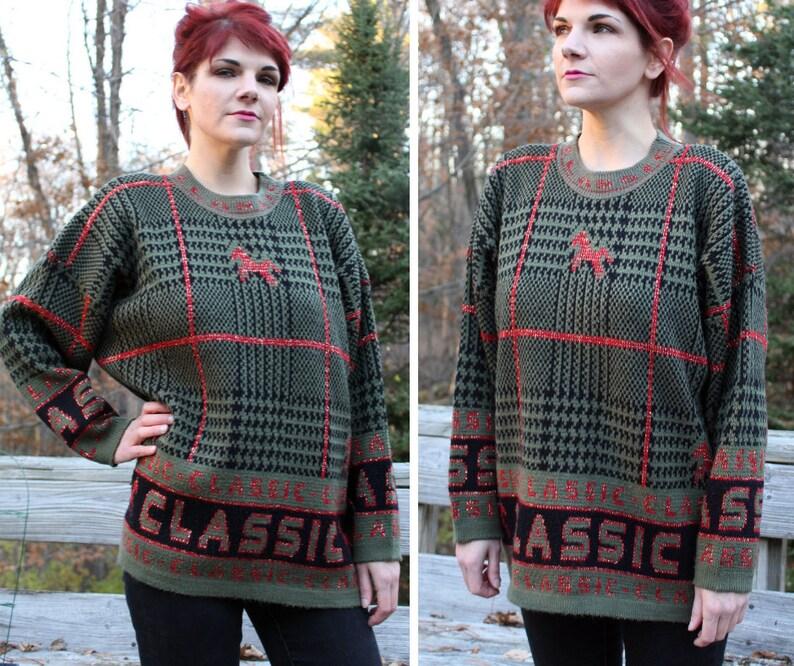 92b12ec1b97 Horse Print Sweater XL Equestrian Gifts Heavy Knit Wool