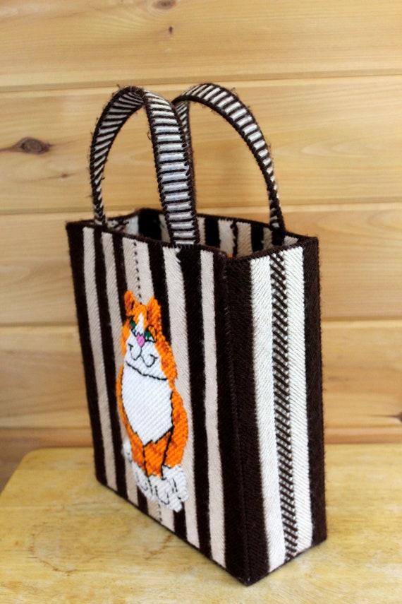 Vintage Cat Bag 1970s Cross Stitch Top Handle Box… - image 4