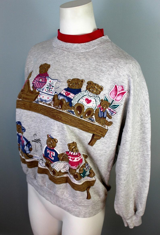 Teddy Bear Sweatshirt 90s Mock Neck Sweater Hot Pink Grey Graphic Sweatshirt Bear Print Shirt Novelty Sweatshirt 90s Clothing Cute Animals