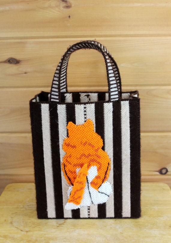 Vintage Cat Bag 1970s Cross Stitch Top Handle Box… - image 3