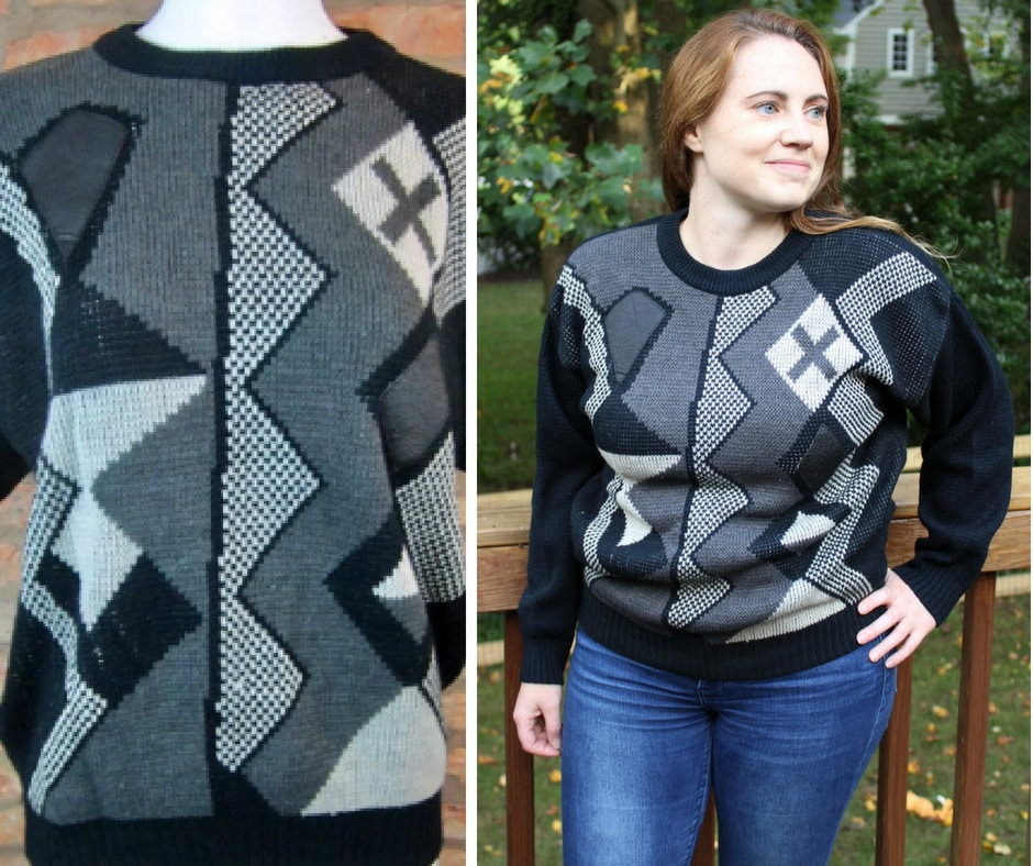 e5f2cdbb004b37 80s Vintage Sweater With Patches Geometric Color Block Crew