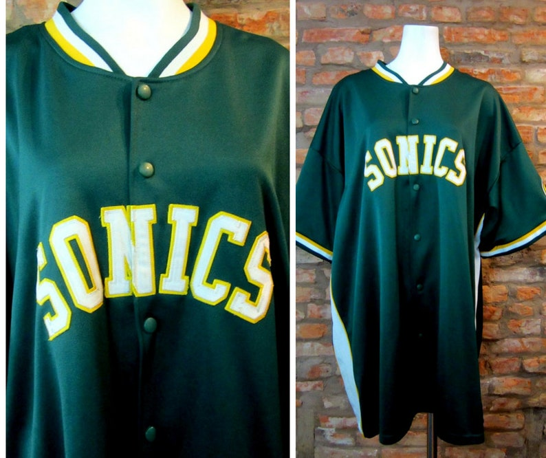 big sale 8e73a 537ec Seattle Sonics Jersey 3X 90s NBA Jacket SuperSonics Logo Sportswear  Throwback Basketball Jersey Retro Ringer Shirt Vintage NBA Apparel