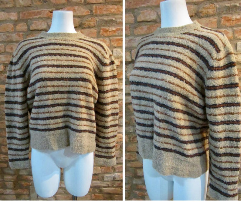 84b4692199e 70s Christian Dior Designer Vintage Sweater Womens Medium Wool Jumper  Shaggy Knit Brown Striped Boho Hippie Sweaters Super Soft Sweatshirt