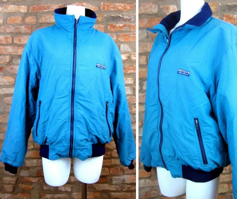 1948a5a8593 Vintage Ski Jacket Men Large Teal Blue Puffy Bomber Jacket