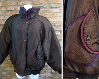 Vintage Puffer Jacket Women 80s Ski Jacket Large Brown Puffy Jacket Down Coat 80s Oversized Jacket Retro Ski Fashion Puffer Coat 80s Style