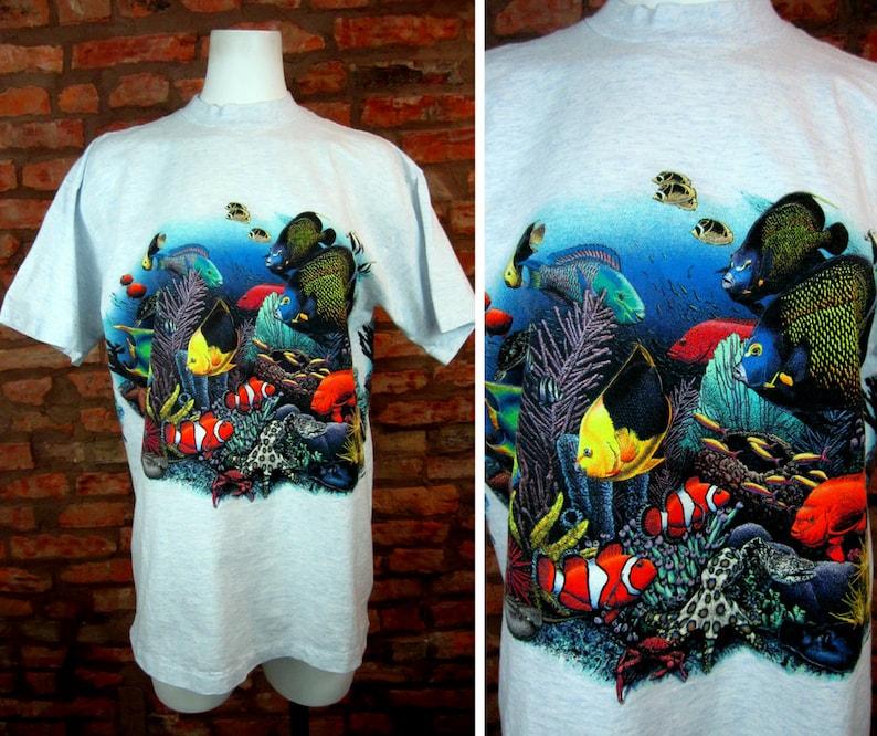 61e557fc938 90s Underwater Sea Life Shirt Vintage Tee Ocean Print