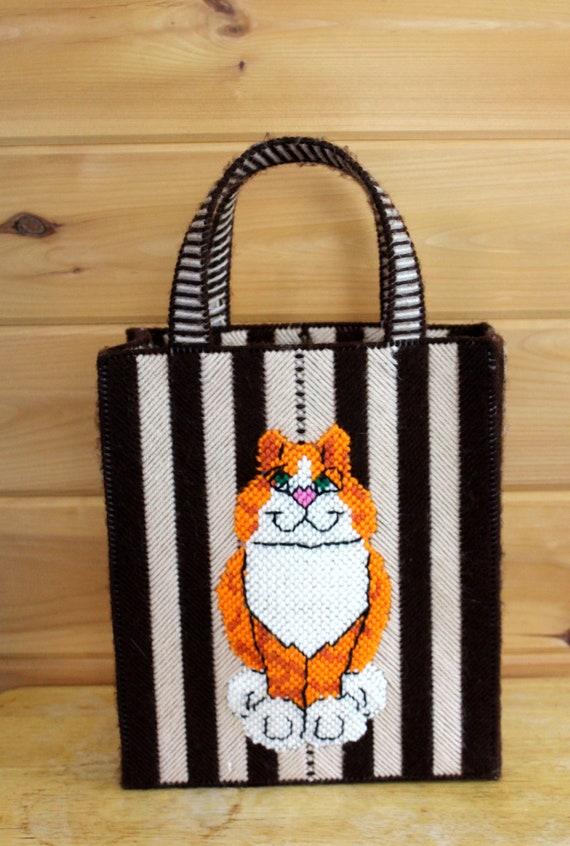 Vintage Cat Bag 1970s Cross Stitch Top Handle Box… - image 2