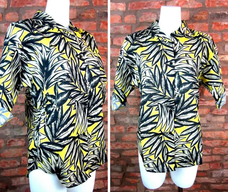 80 Bouton Etsy Hawaïenne Chemise Des Années Vintage Tropical z8I7xYI