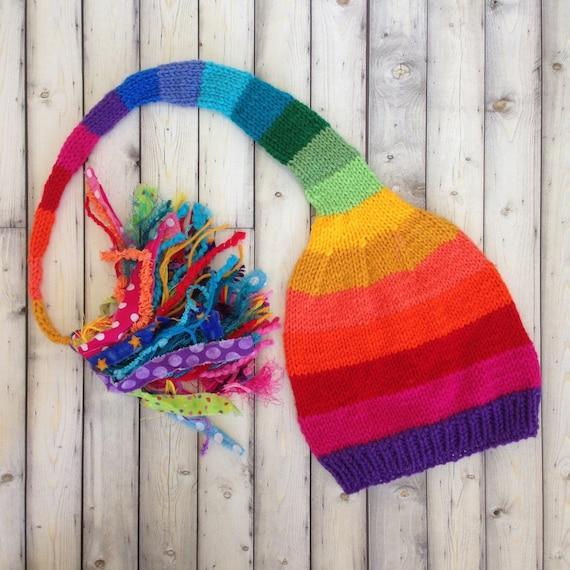 Kid Adult Rainbow Stocking Cap Knit Boy Girl Men Women Hat