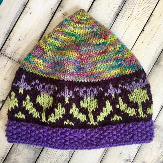Women SCoTTiSH THiSTLe HAT Knit Ladies Multicolor Wool CAP  56a44f415a