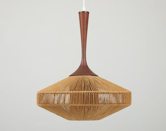 SOLD - Teak and Jute Pendant Lamp by Fog and Mørup