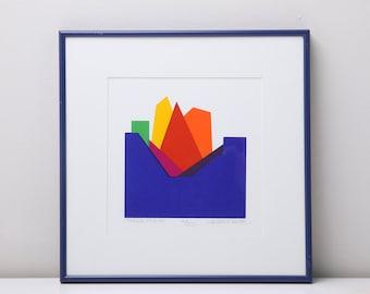 SOLD - Original Silkscreen by C. Daniel Gelakoska - Orange Prism, 1988