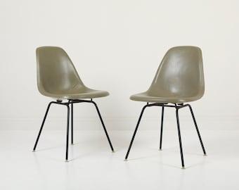 Vintage Herman Miller Eames DSX Fiberglass Padded Shell Chairs