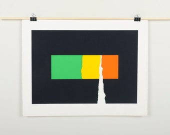 Original Silkscreen by C. Daniel Gelakoska - Moon Strokes, 1976