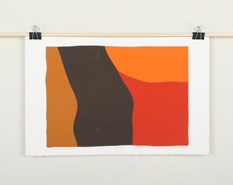 Original Silkscreen by C. Daniel Gelakoska - Desert Sunset, 1977