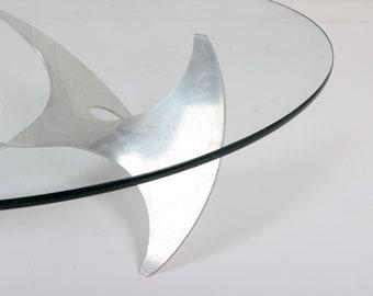 Knut Hesterberg for Ronald Schmitt Aluminum and Glass Propeller Coffee Table