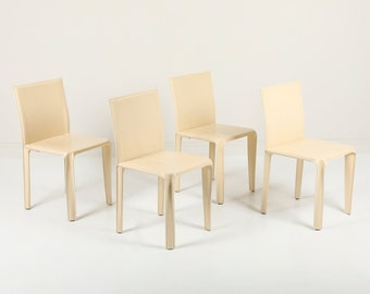 Italian Leather Dining Chairs by Arper, Italy