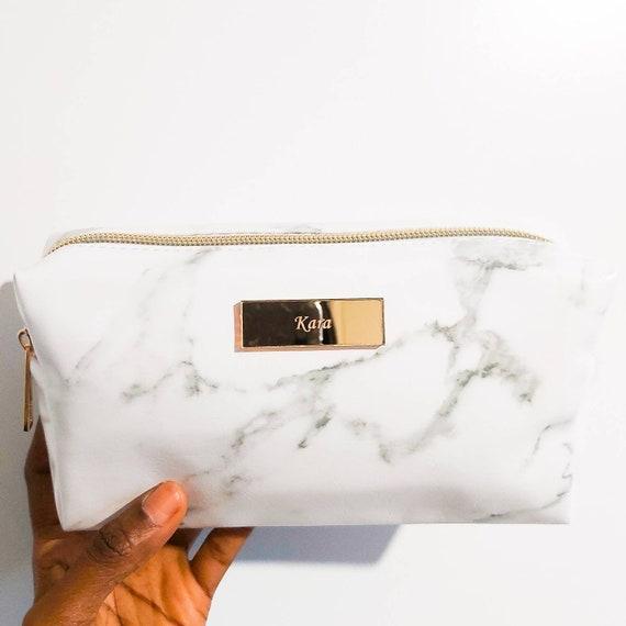 personalised marble makeup bag
