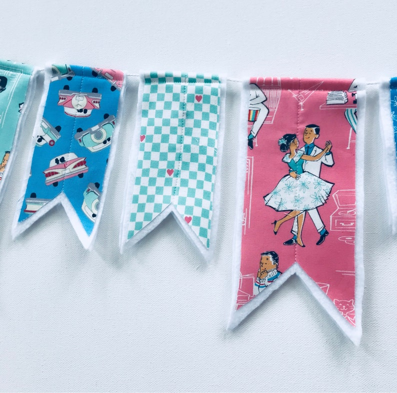 Fabric banner retro banner, 50/'s banner sock hop banner