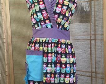 Full apron , ruffled apron , Martyoshra doll , Martyoshra apron