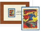 Superman Framed Postage Stamp, Comics Cinema Lover Gift, Movies Superhero, Father Gift, Recycled Postage Stamp Art, Office Decor Gift
