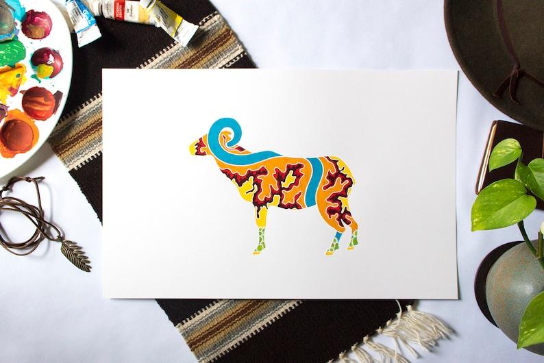 Desert Bighorn Sheep Gouache Painting  Canyonlands National image 0