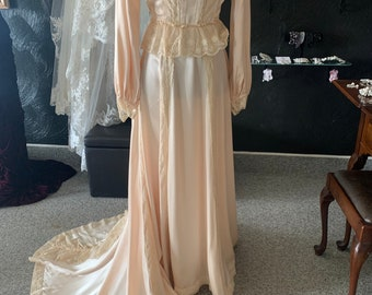 Victorian Peach 1980 80s Victorian Inspired Vintage Gown Lace Inset Satin Crepe Gown