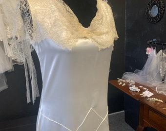 1920's slipper satin bias cut dress antique lace