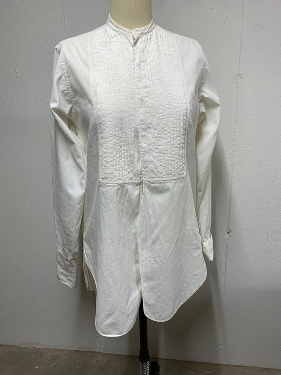 Men's vintage tuxedo dress shirt 1940's unisex - image 2