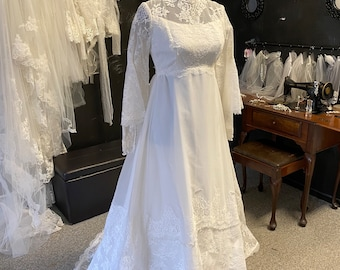 Early 80's Alfred Angelo empire waist wedding dress, combination lace sleeve High neckline gown USA Union made
