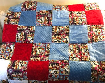 Wonder Woman Patchwork Red & Blue Quilted Throw