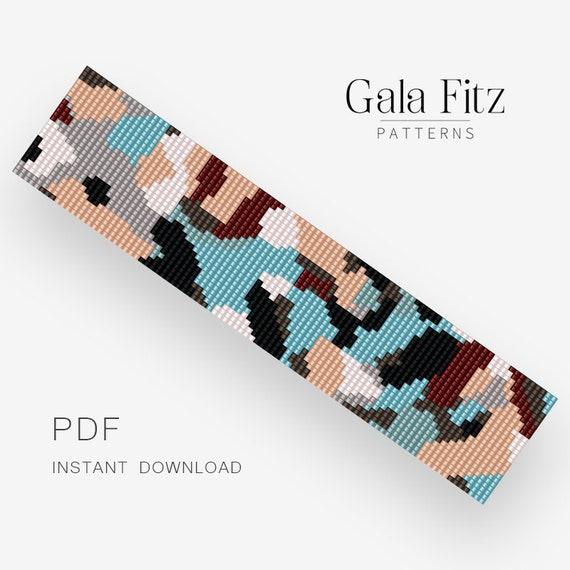 Instant download BL0110 Bead loom pattern Military bead loom bracelet making pattern
