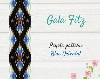 Black and blue oriental peyote pattern, Bead stich bracelet pattern, Peyote beaded cuff bracelet, Bead weaving, Golden peyote beadwork