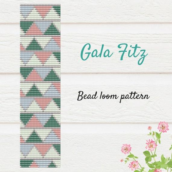 Bead loom pattern, Bead weaving loom bracelet pattern, Loomed cuff bracelet, Square stitch loom, Geometric loom pattern, Bead weaving loom