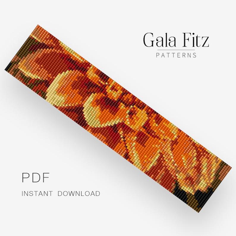 Bead loom pattern Mother/'s day gift idea BL0118 Orange dahlia pattern for bead loom bracelet making