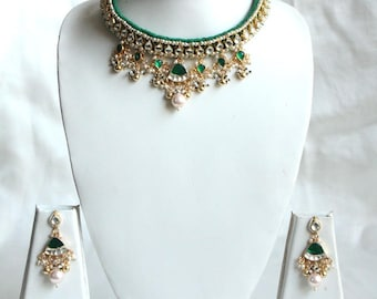 Green Kundan Choker Necklace Earring Set / Green High Neck Kundan Wedding Jewelry Set / Indian Wedding Jewelry / Gift For Her / Bridal Set