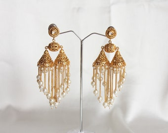 White Pearl Chandelier Earrings / Pearl Wedding Earrings / Long Pearl Danglers /Bollywood Earrings /Gift For Her /Gold Finish Pearl Earrings