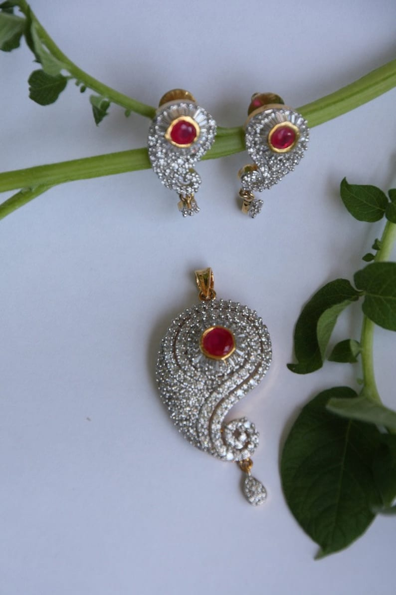 d42972d78a851 Semi-Precious Ruby and Cubic zirconia Pendant and Earring Set / Paisley  Shaped Pendant Earring Set / Wedding Jewelry Set / Party Jewelry..